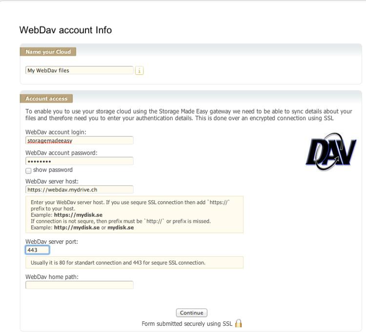 Adding a WebDAV compatible Cloud Provider - Storage Made Easy